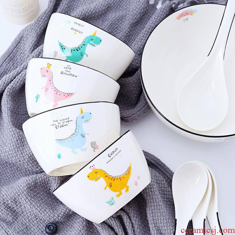 Dishes cartoon simple children 's breakfast is the lovely ceramic tableware suit new good - & household Dishes