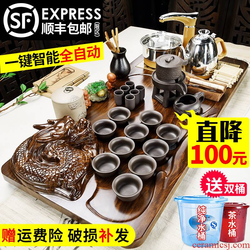 Violet arenaceous kung fu tea set household porcelain god solid wood tea tray machine automatic four one tea sea teapot teacup