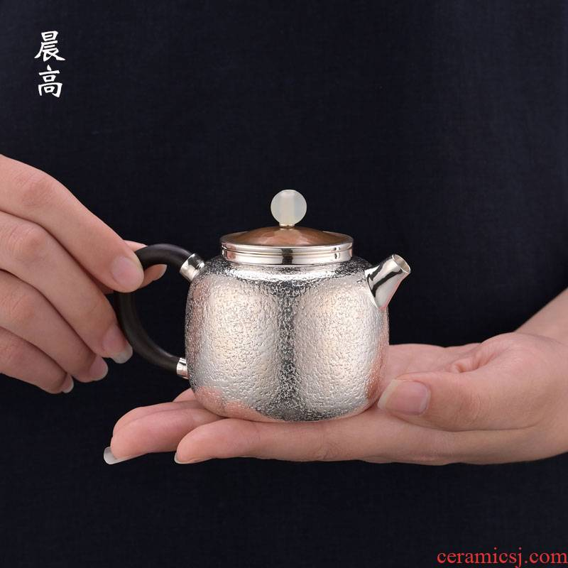 Morning high become saybot hemp 999 sterling silver sycee pot teapot pure manual hammer xi shi little teapot tea set the teapot