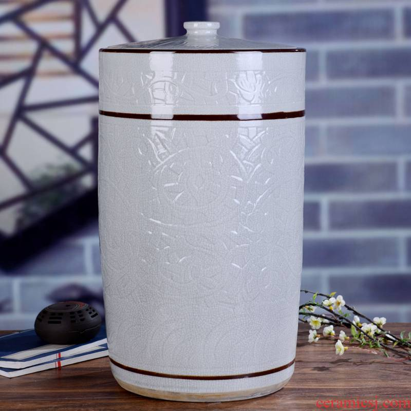 Household ceramics ricer box big barrel with cover 40 kg 80 catties more water store ricer box sealed cylinder barrel