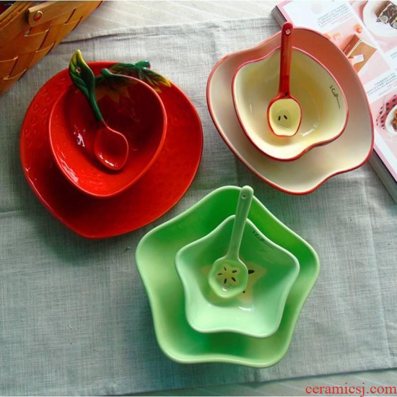Jingdezhen sweet watermelon fruit salad rice bowls bowl plates spoon, ceramic tableware suit