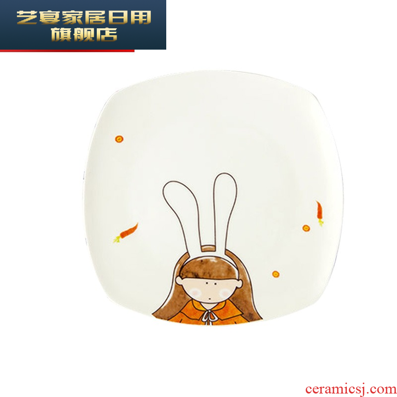 Square cartoon dishes suit ceramic household eat lovely tableware ins bowls creative nice dish bowl
