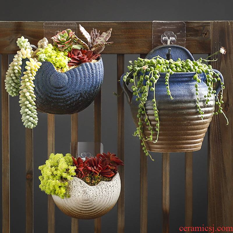 Hang a wall flower pot hanging ceramic basin of European creative balcony caruncle hanging more rural money plant hanging decorative flowers
