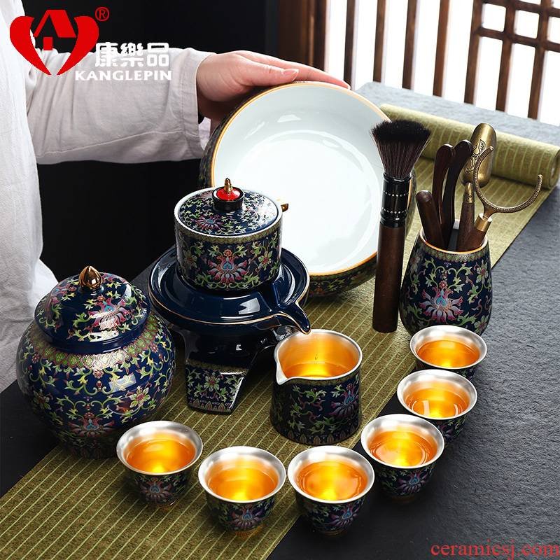 Fit recreational product jingdezhen ceramic coppering. As silver tea set automatically prevent hot lazy people make tea, kungfu tea set