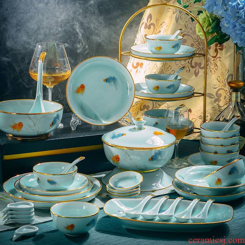 Xin red coloured drawing or pattern celadon dishes north European style up phnom penh high - grade dishes web celebrity jingdezhen ceramics tableware suit