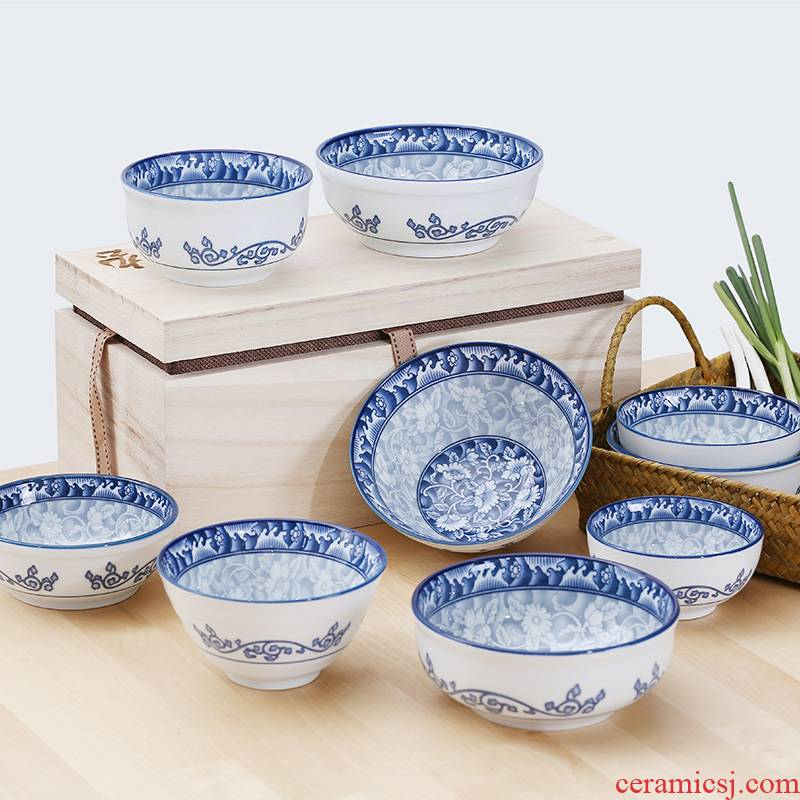 Orchid bowls Chinese style suit TaoShang Korean rice home under the glaze color of blue and white porcelain tableware job suits for