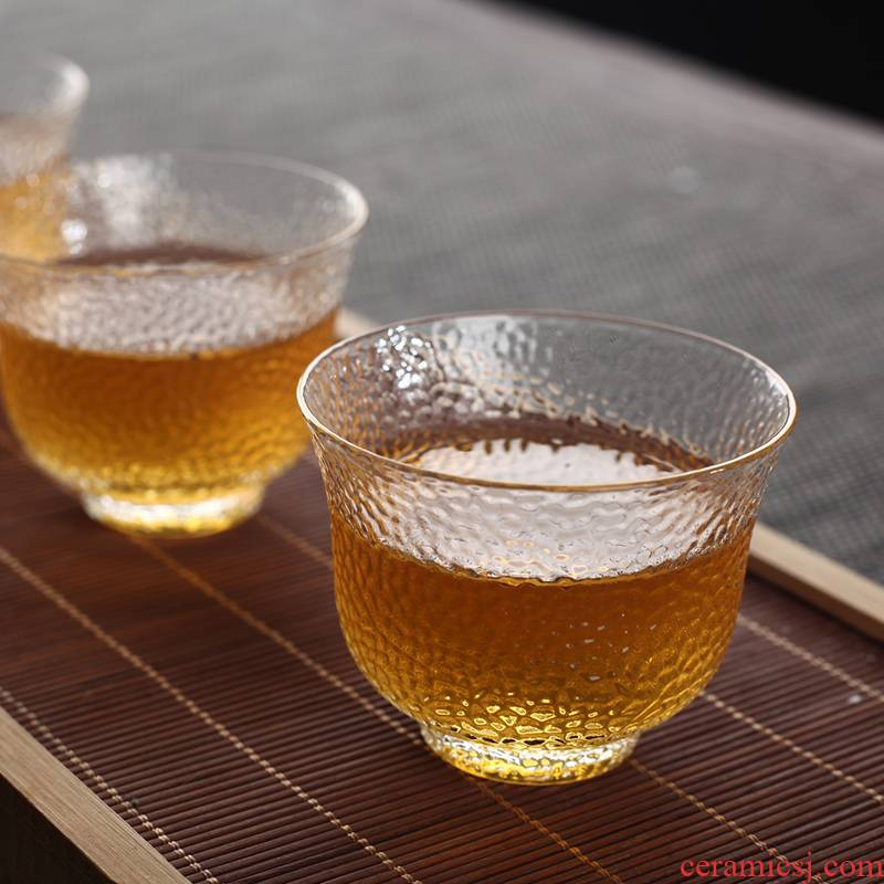 Morning high heat - resistant glass sample tea cup kung fu tea cup master cup small bowl cups cup glass tea set