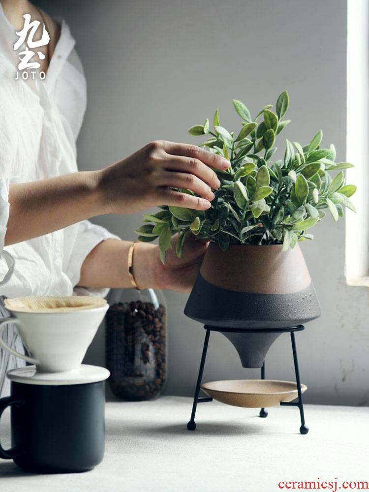 About Nine creative ceramic flower pot soil Nordic ins hob anywhere sitting room more than meat, wrought iron flower implement creative flower pot pot with the feet