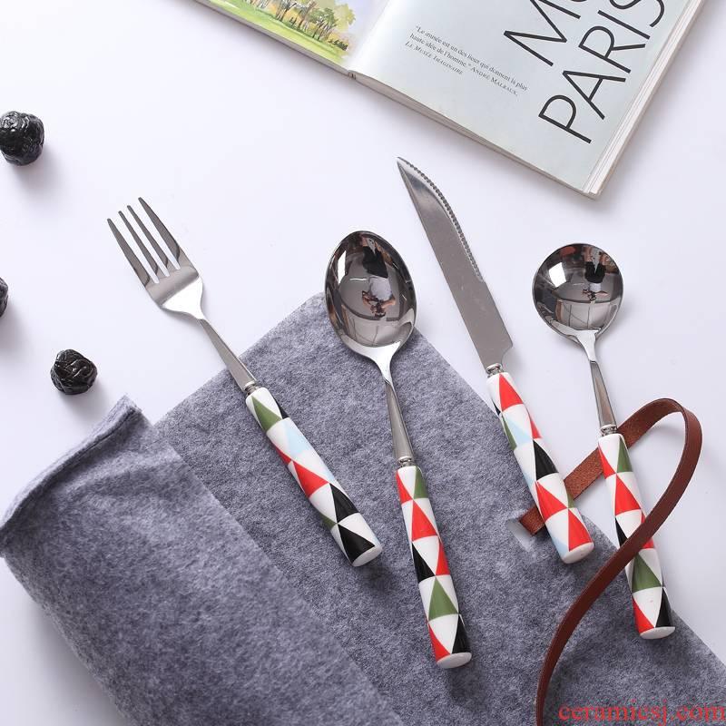 Jingdezhen ceramic color Nordic lozenge case grain ceramic handle stainless steel tableware steak knife and fork spoon coffee spoon