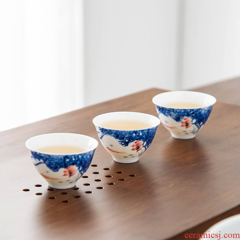 Qiu time ceramic kung fu masters cup sample tea cup white porcelain cups hand - made lotus single cup bowl tea tea