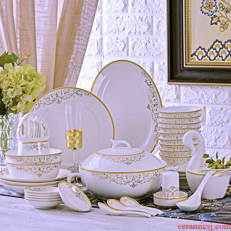 The Open tableware suit 60 key-2 luxury jingdezhen head ipads bowls plates gift chopsticks sets high bowl lovesick