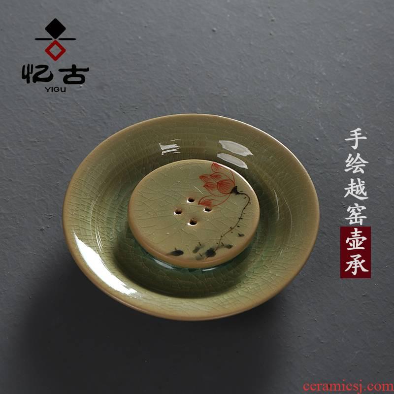 Have the ancient pot bearing hand the up ceramic tea set of the kung fu tea tea accessories dry tea pot pad teapot tray
