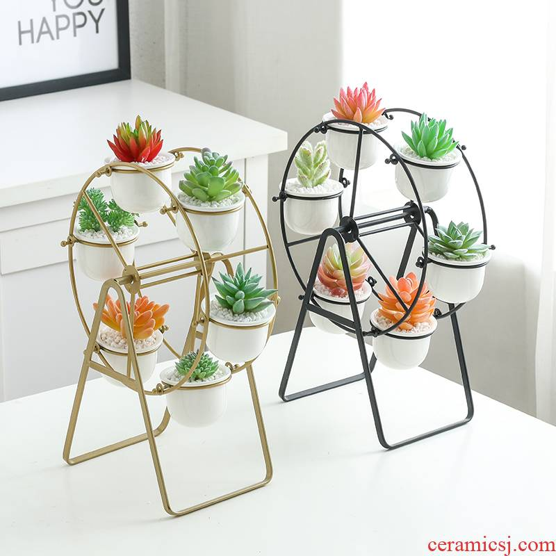 Ins the ferris wheel, wrought iron ceramic meaty plant flower POTS, contracted creative Nordic combined flower pot hob anywhere in suit
