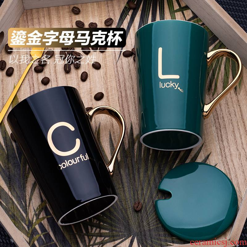 Ins the see colour of water glass ceramic keller individuality creative trend coffee cup men 's and women' s household with a spoon