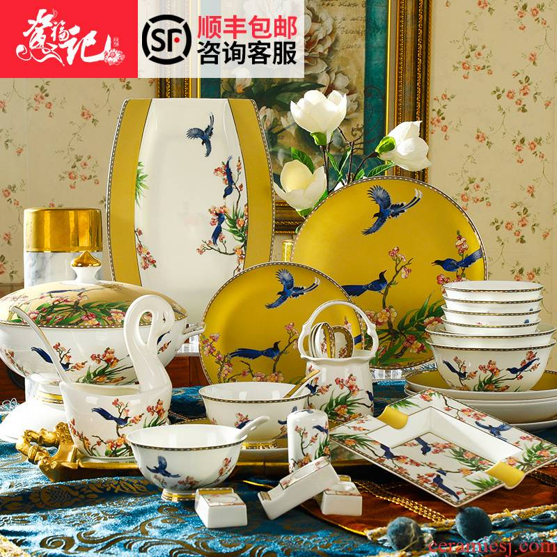 Tableware dishes suit household of Chinese style originality of jingdezhen porcelain ipads China Tableware dishes combination wind bowl chopsticks gifts