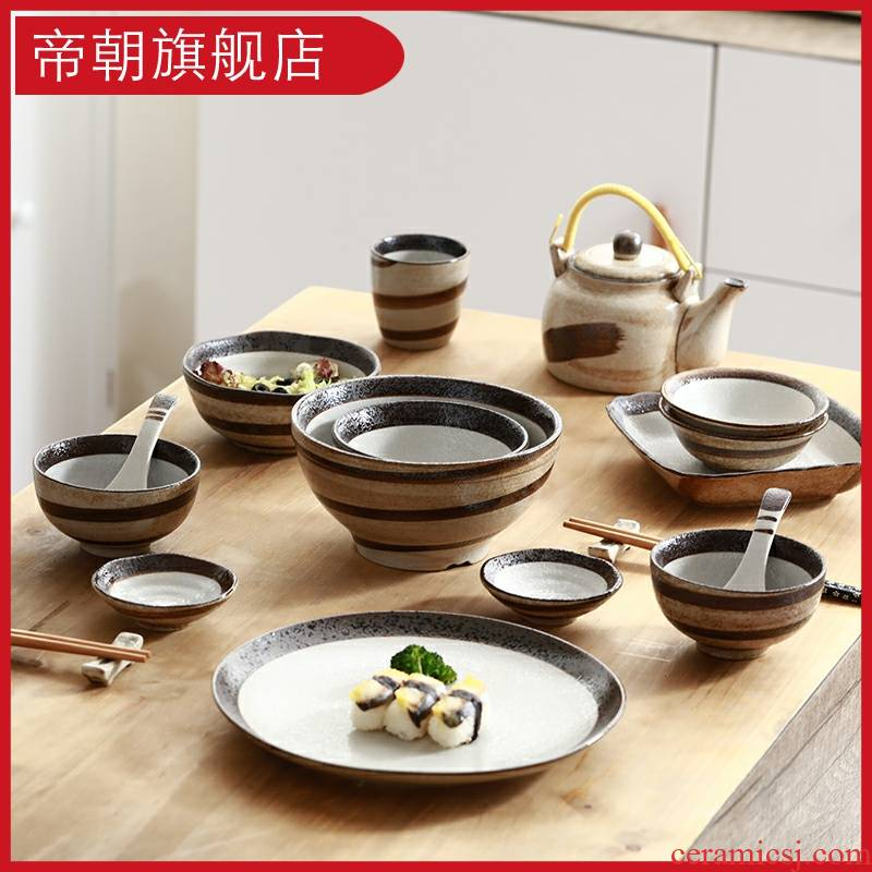 Emperor the dishes suit household is concise and creative hand - made porcelain ceramic bowl spoon, Japanese dishes plate suit