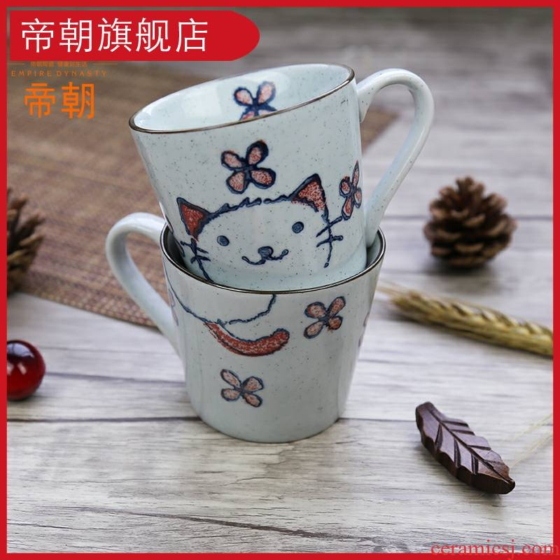 A Cup of coffee cups milk Cup mark Cup, hand draw express cat individuality creative pottery breakfast Cup of Cup