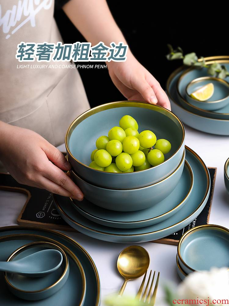 Light much wind Nordic up phnom penh continental plates, ceramic tableware suit combination of household American creative move dishes