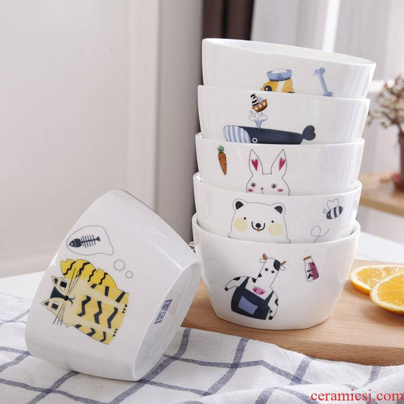 Four/six pack ceramic creative 4.5 inch bowl rice bowls of pottery and porcelain tableware household small bowl