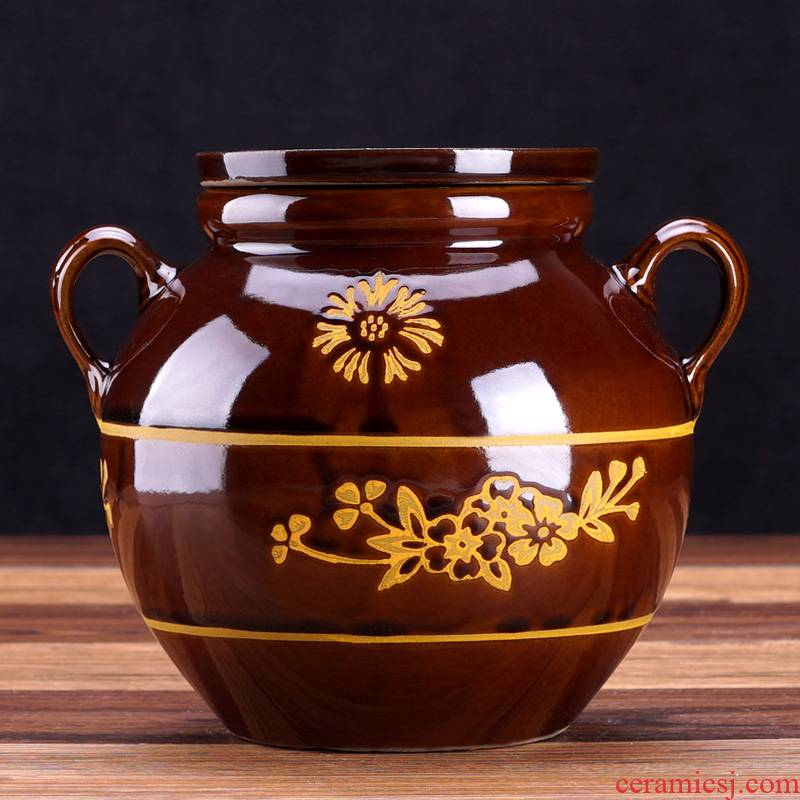 Edge lodge GuanPing sichuan ceramic containers peanut oil jar earthenware from lard oil cylinder oil altar canister
