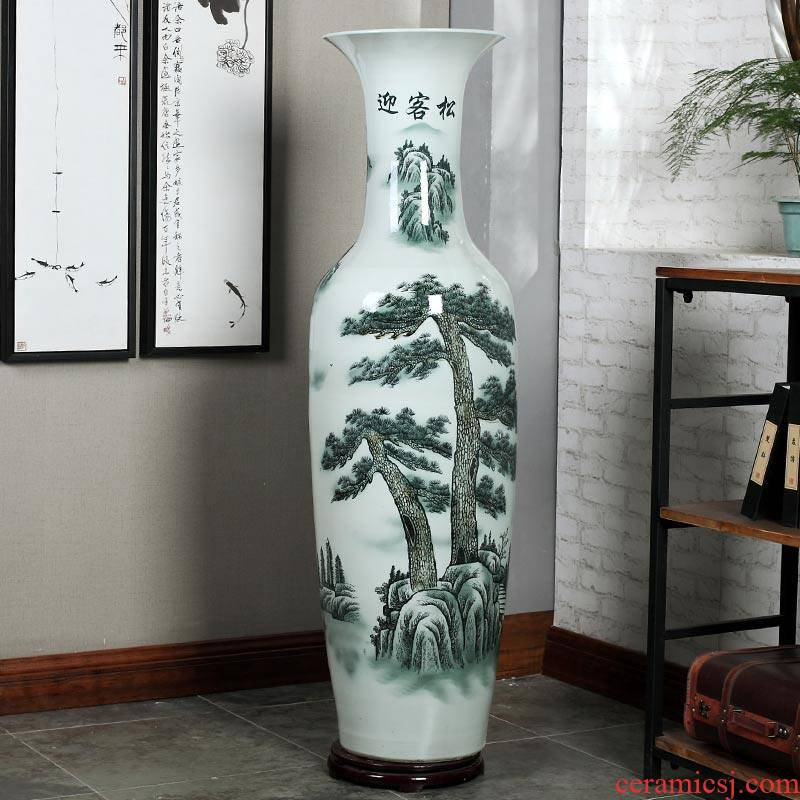 Jingdezhen blue and white ceramics guest - the greeting pine hotel opening arranging flowers potted sitting room adornment is placed large vase