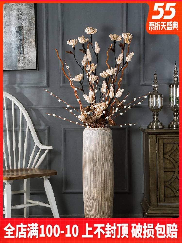 Ceramic vase hotel villa fall to the ground in the modern large sitting room porch flower flower implement Nordic decorative flower arranging furnishing articles