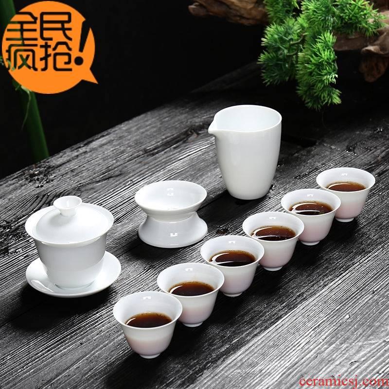 Hui shi dehua white porcelain tea set household contracted tureen tea cups kung fu tea set ceramic tea POTS bowl