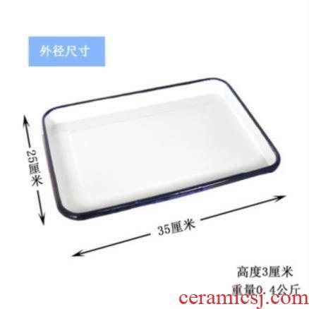 Enamel plate thickening tea tray square plate rectangular large multi - purpose white Enamel basin