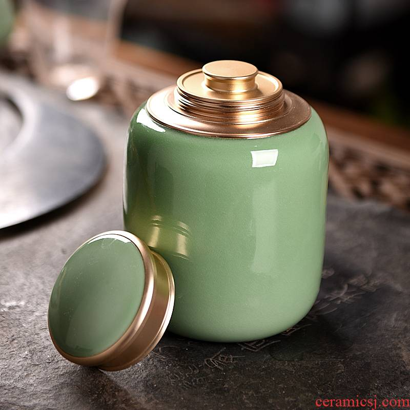 Longquan celadon sealed as cans of pu 'er tea ceramic household green tea POTS of tea packaging warehouse large POTS storage tanks