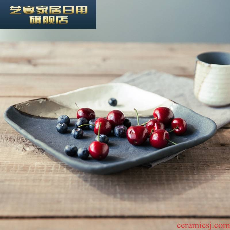 5 zf new Japanese household tableware ceramic plate variable glaze process plates fashion offers hotel tableware supplies