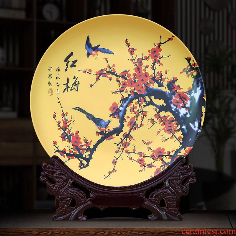 To jingdezhen decorate dish decorative furnishing articles by gold bottom patterns customized diy custom design