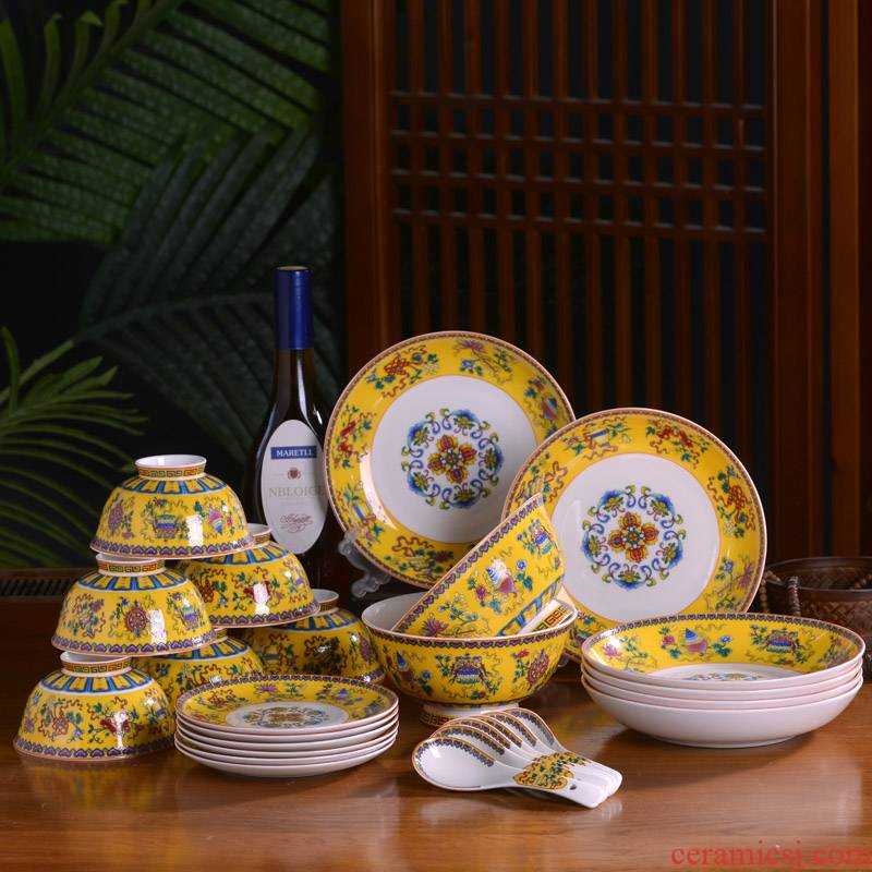 Jingdezhen ceramic tableware suit six bowl plates spoon household 0 small spoon the ipads porcelain single tall bowl