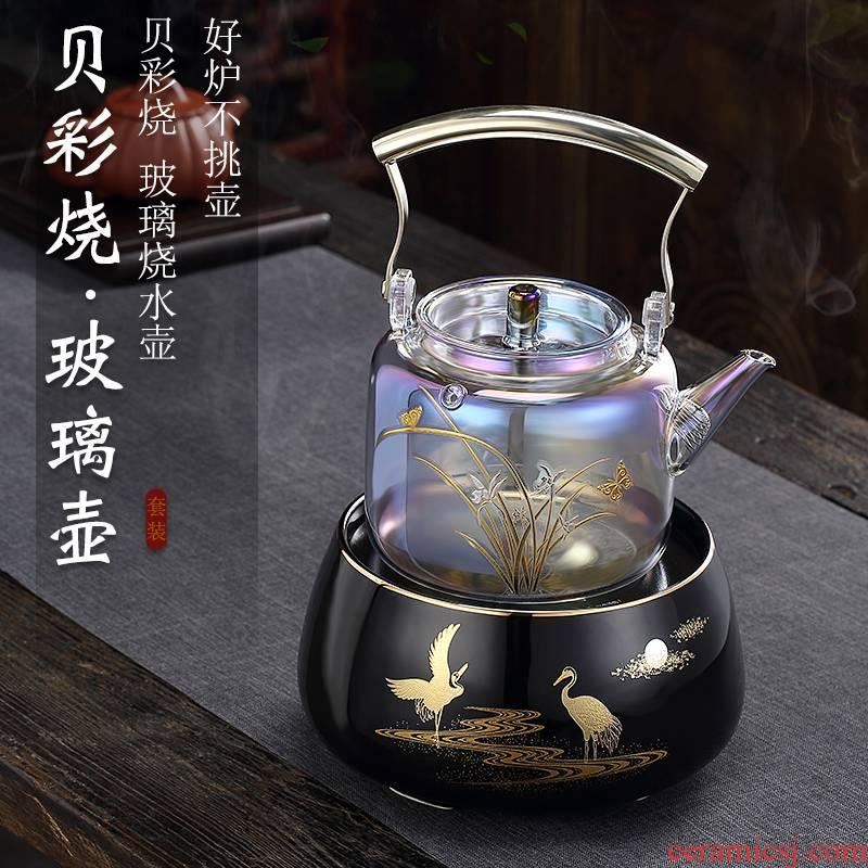 Morning high heat - resistant glass boiled tea ware household kettle boil kettle suit pu 'er tea girder pot of boiled tea stove
