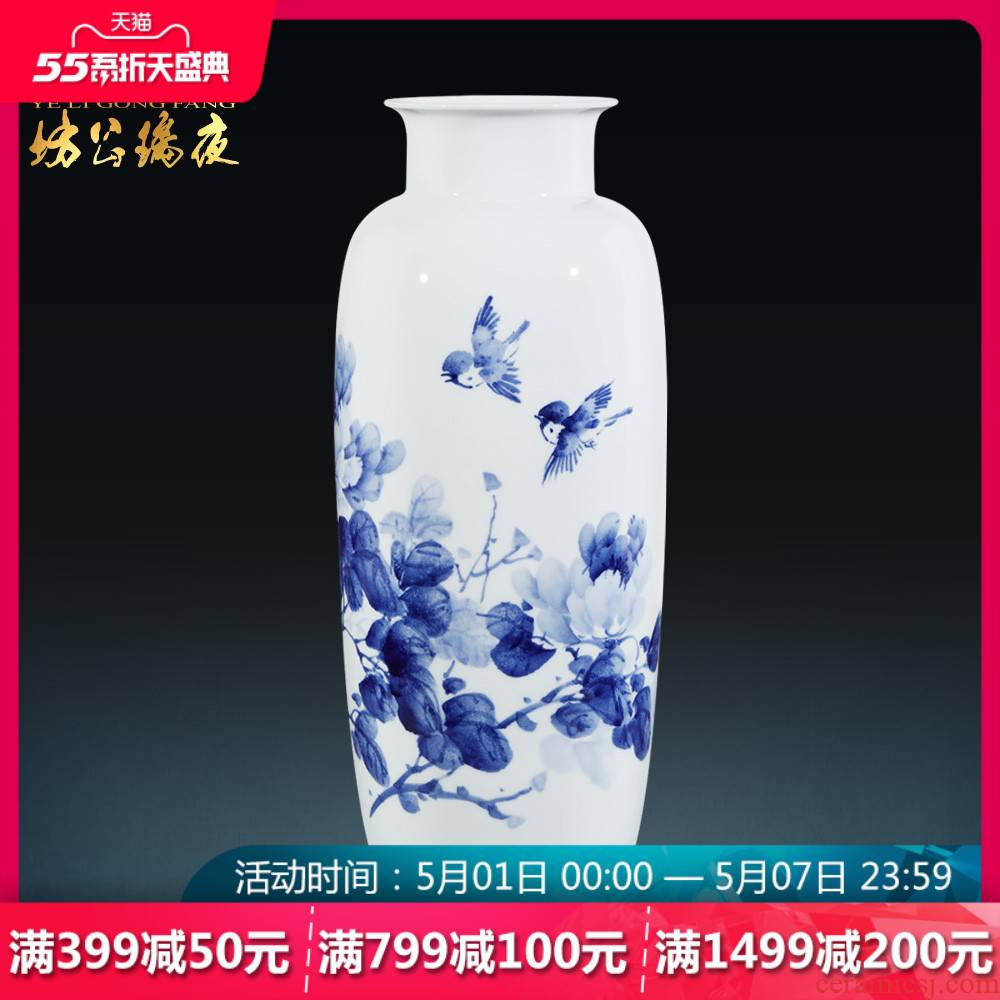 Jingdezhen ceramics hand - made of blue and white porcelain vase peony flower arrangement, the sitting room of Chinese style household adornment furnishing articles
