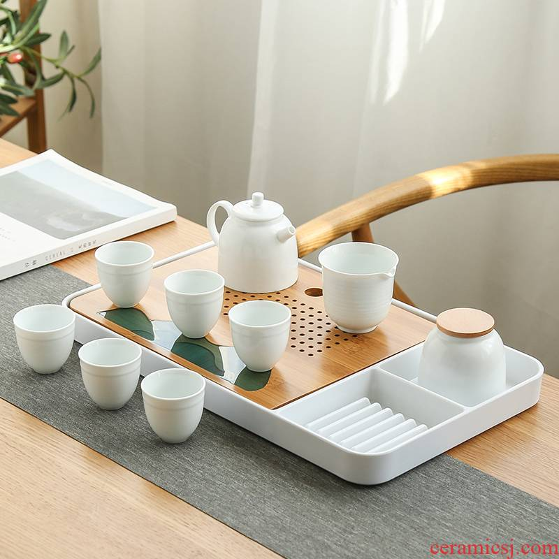 Bo yiu-chee contracted kung fu tea set ceramic teapot tea tray was contracted household gifts tea, a complete set of gift box