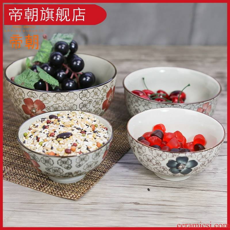 Japanese ceramic bowl to eat small bowl of noodles in soup bowl with rice bowls bowl and wind hand - made tableware bowls suit blossoms