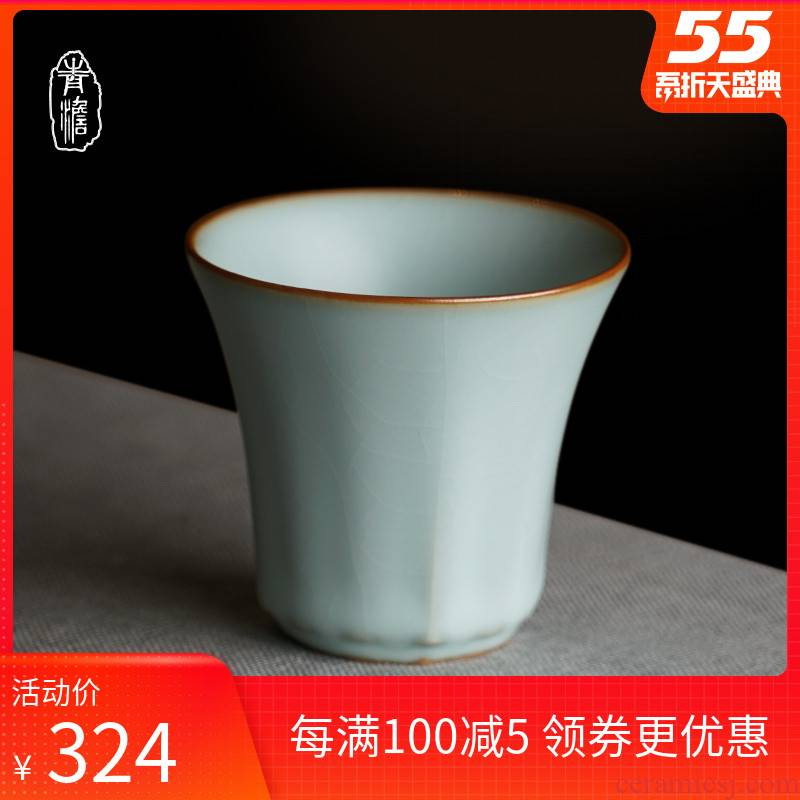 Your up sample tea cup pure manual master cup single CPU noggin day blue open piece of jingdezhen kung fu tea set for