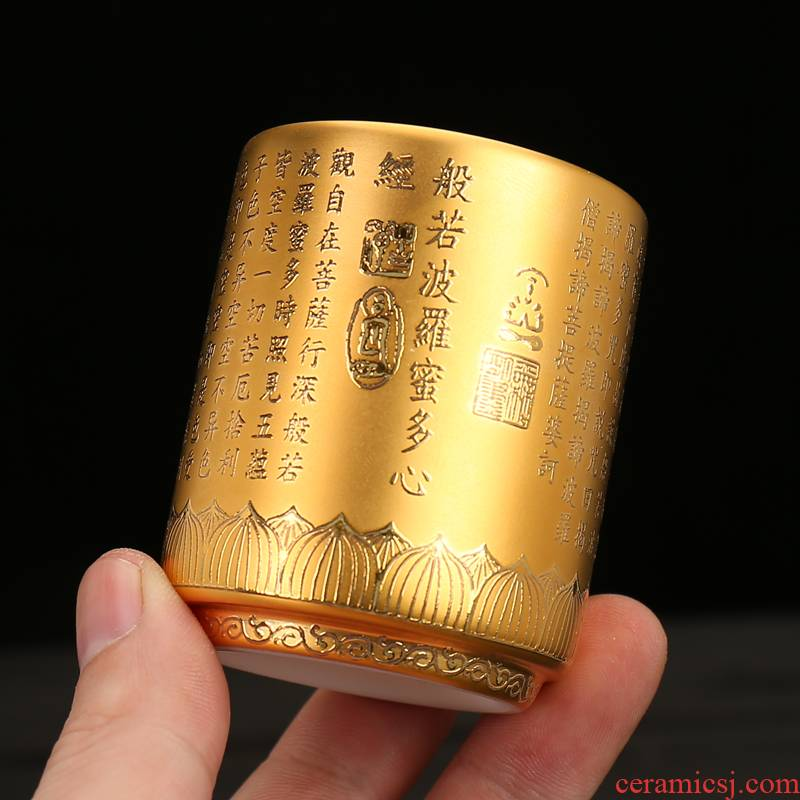 High - grade tea gold, 24 k gold master cup gold single kung fu household ceramics single cups of tea cups