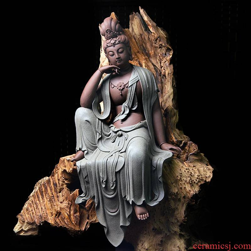 Dehua ceramic comfortable guanyin bodhisattva figure of Buddha zen home porch place offering Chinese style version into gifts