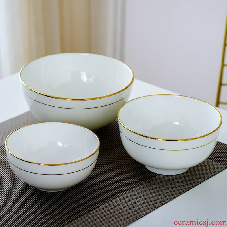 Jingdezhen ceramic bowl large rice bowls up phnom penh contracted household hot with foot rainbow such use