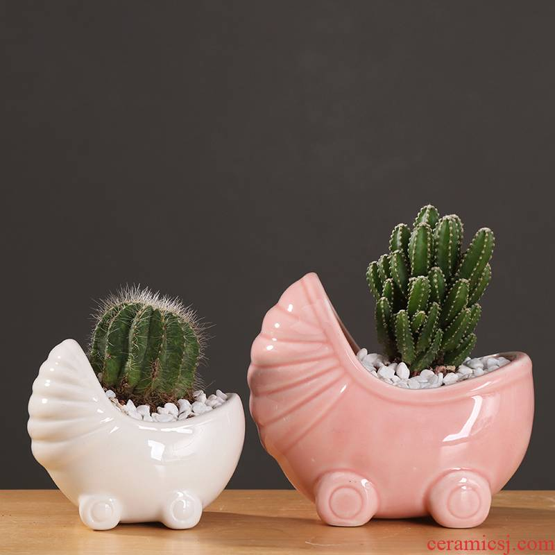 Cartoon mini white ceramic flower pot contracted creative move fleshy pink cactus flower POTS, small lovely