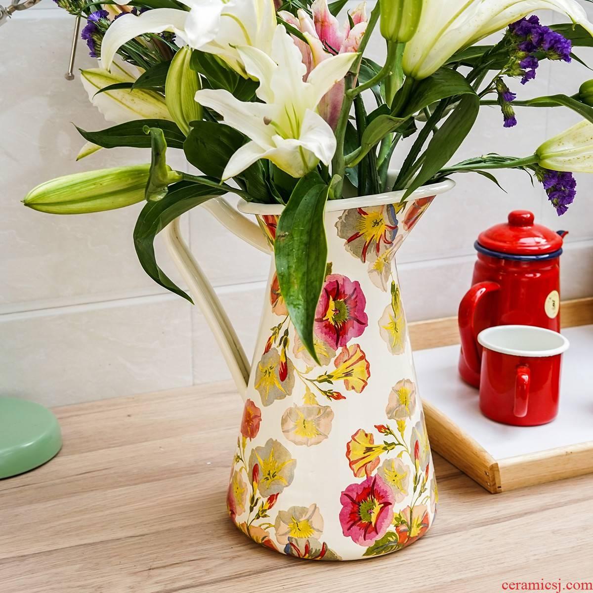 Japanese fertilizer dragon flowers with thick enamel 3.5 L household enamel export large vase bottle decoration