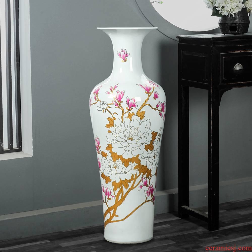 Jingdezhen ceramic black crystal glaze peony bridal chamber, a large dark red vase opening sitting room of large furnishing articles