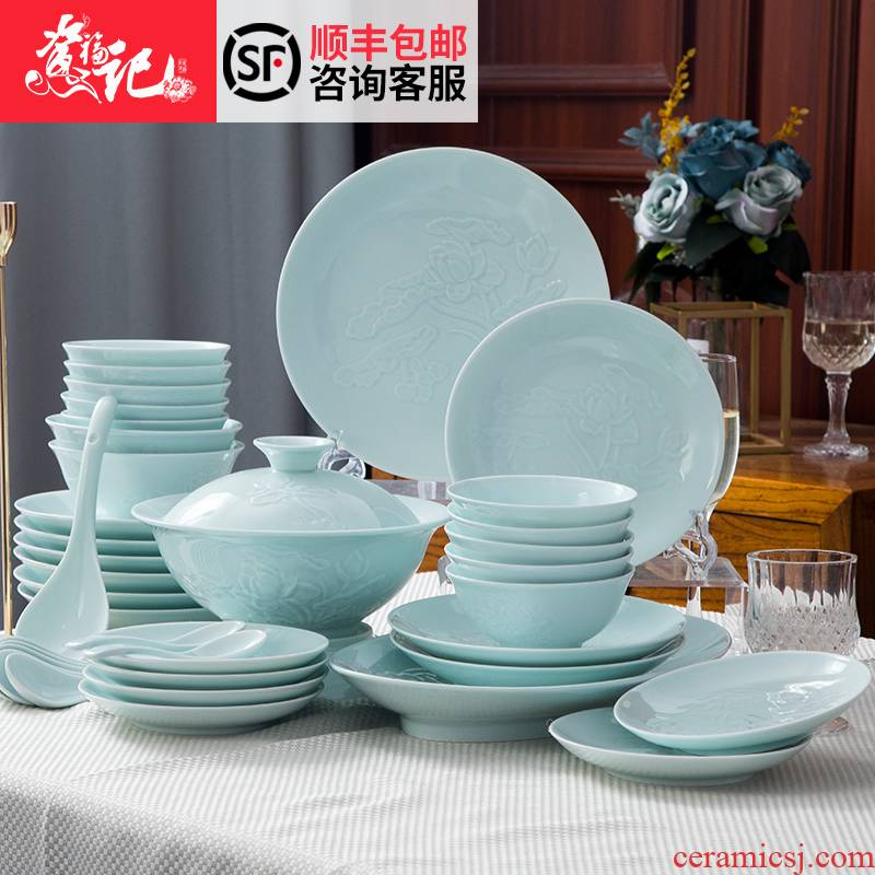 Dishes suit Chinese shadow blue glaze high - grade ipads China tableware suit under the glaze made pottery bowls set household gifts JinHe