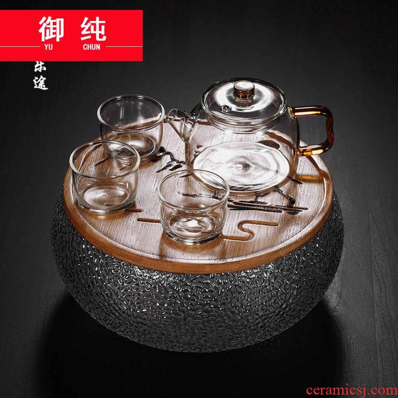 Royal pure travel kung fu tea set a pot of three cups of crack pot is suing portable car make tea with elegant