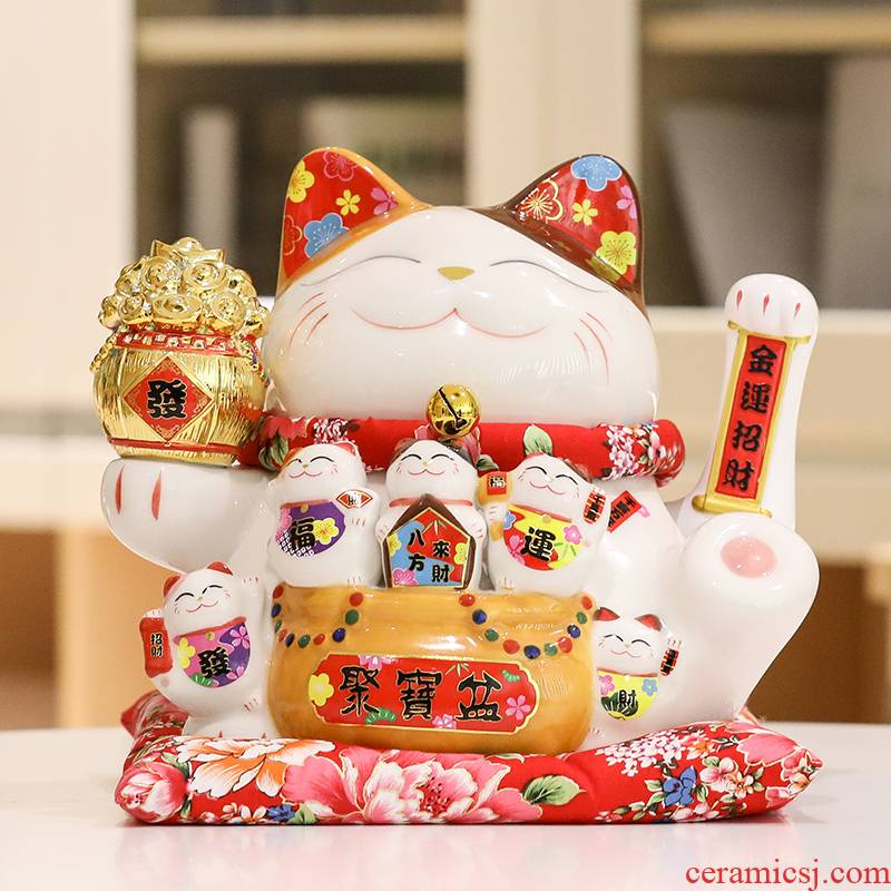 Porcelain heng tong plutus cat furnishing articles opening gifts since version waved the cashier home sitting room ceramic piggy bank