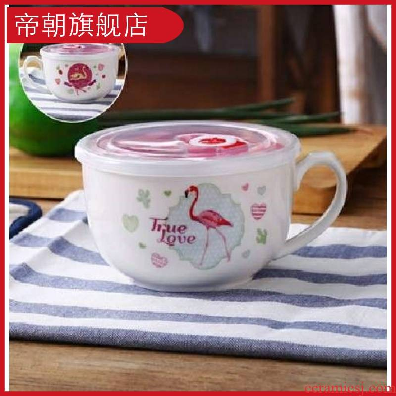 With handles fashion bento box of large bowl With cover thickening tureen microwave household enamel ceramic bowl l
