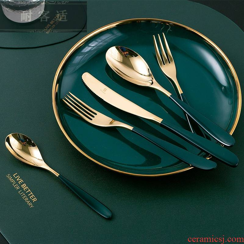 Guest comfortable web celebrity style ins hold blackish green, gold knife and fork spoon, 304 stainless steel plating western - style food tableware box set of tableware