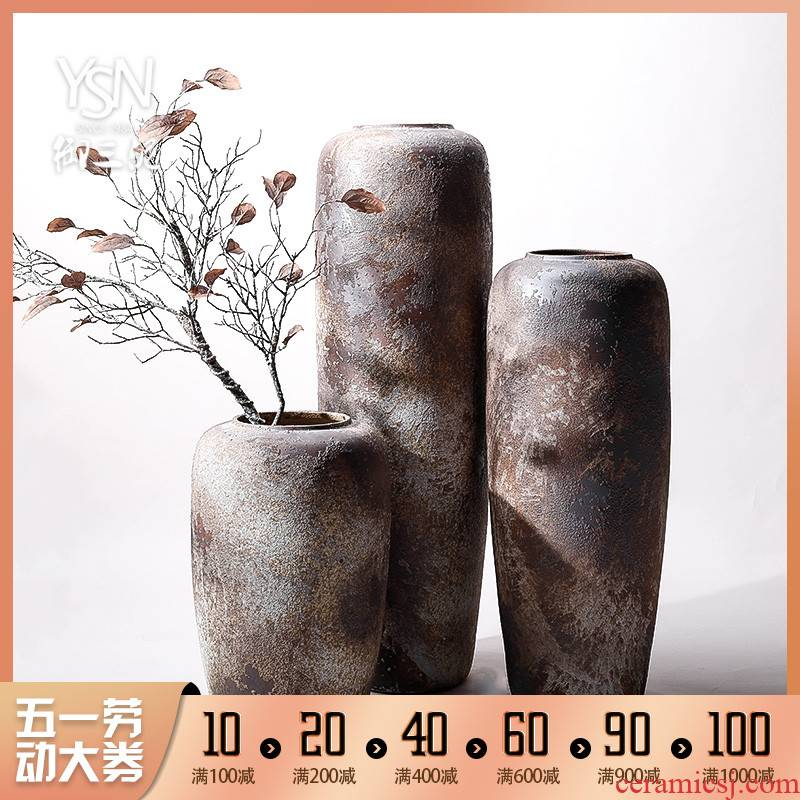 Retro ceramic vases, flower arrangement sitting room place I and contracted large ground vase floral decoration villa garden