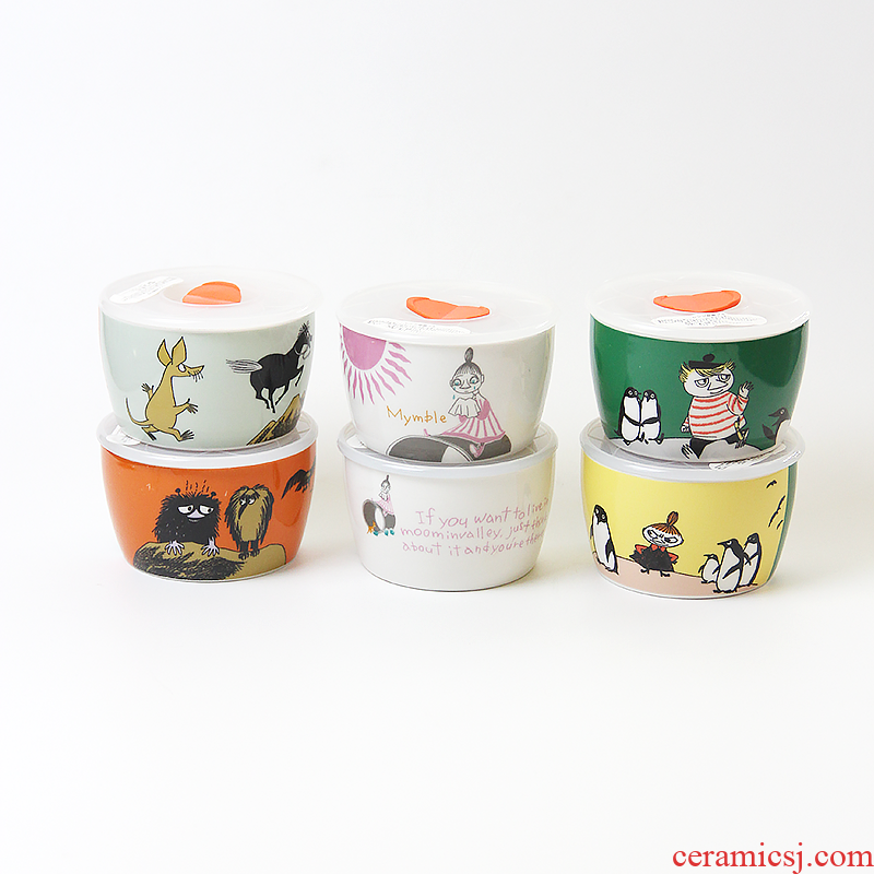 Japanese moomin rainbow such as bowl with cover preservation bowl seal storage tank mercifully microwave ceramic preservation box lunch box sealing bowl